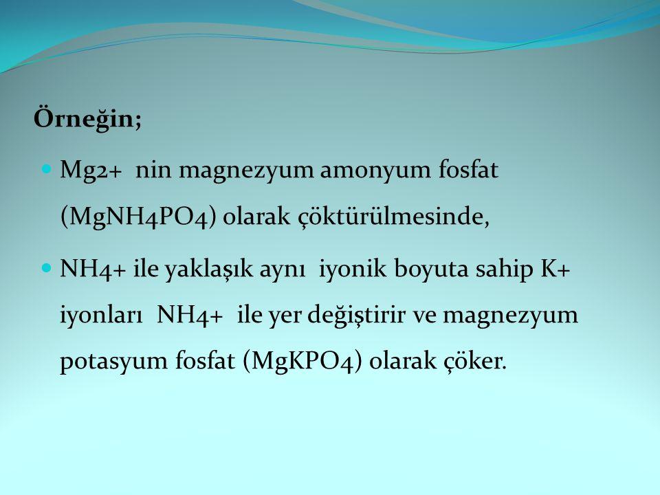 Örneğin; Mg2+ nin magnezyum amonyum fosfat (MgNH4PO4) olarak çöktürülmesinde,