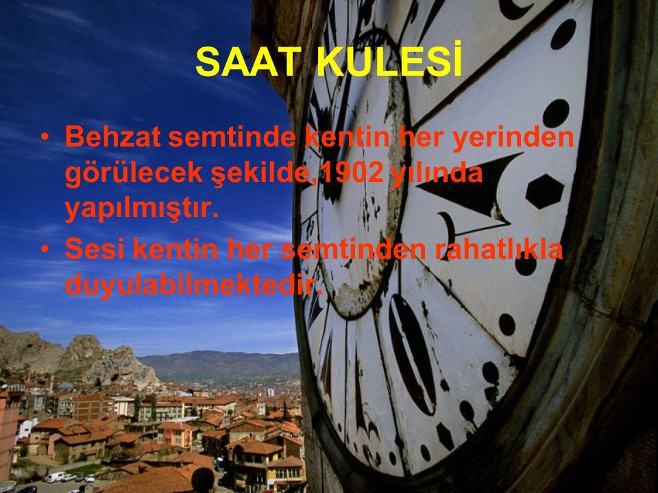 SAAT KULESİ Behzat semtinde kentin her yerinden görülecek şekilde,1902 yılında yapılmıştır.