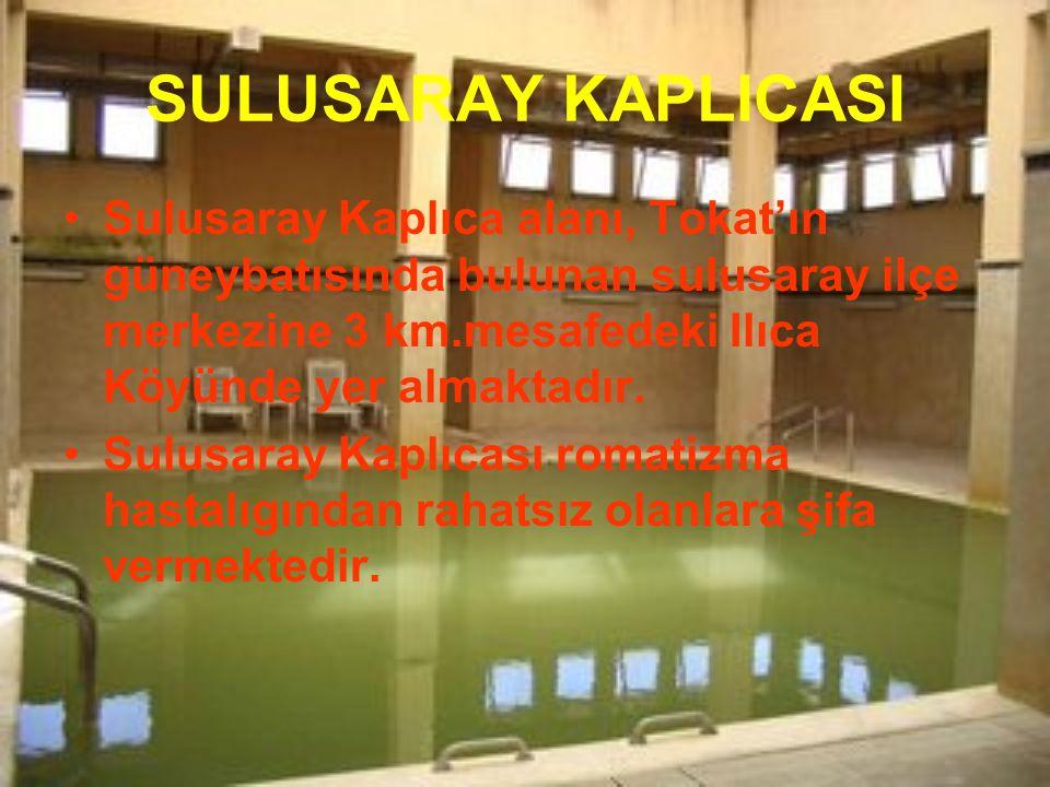 SULUSARAY KAPLICASI Sulusaray Kaplıca alanı, Tokat'ın güneybatısında bulunan sulusaray ilçe merkezine 3 km.mesafedeki Ilıca Köyünde yer almaktadır.