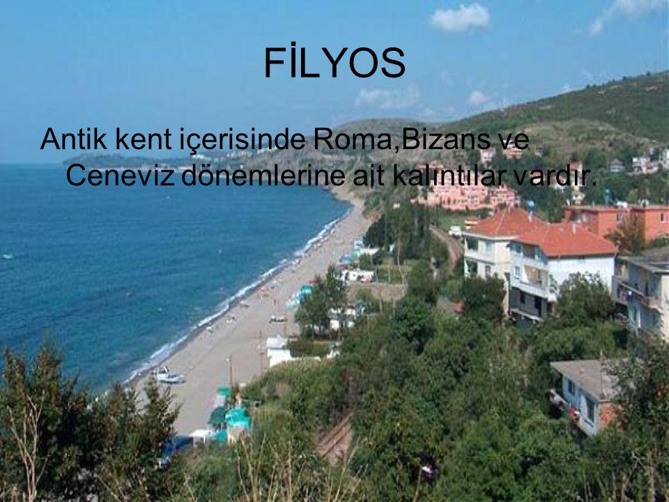 FİLYOS Antik kent içerisinde Roma,Bizans ve Ceneviz dönemlerine ait kalıntılar vardır.