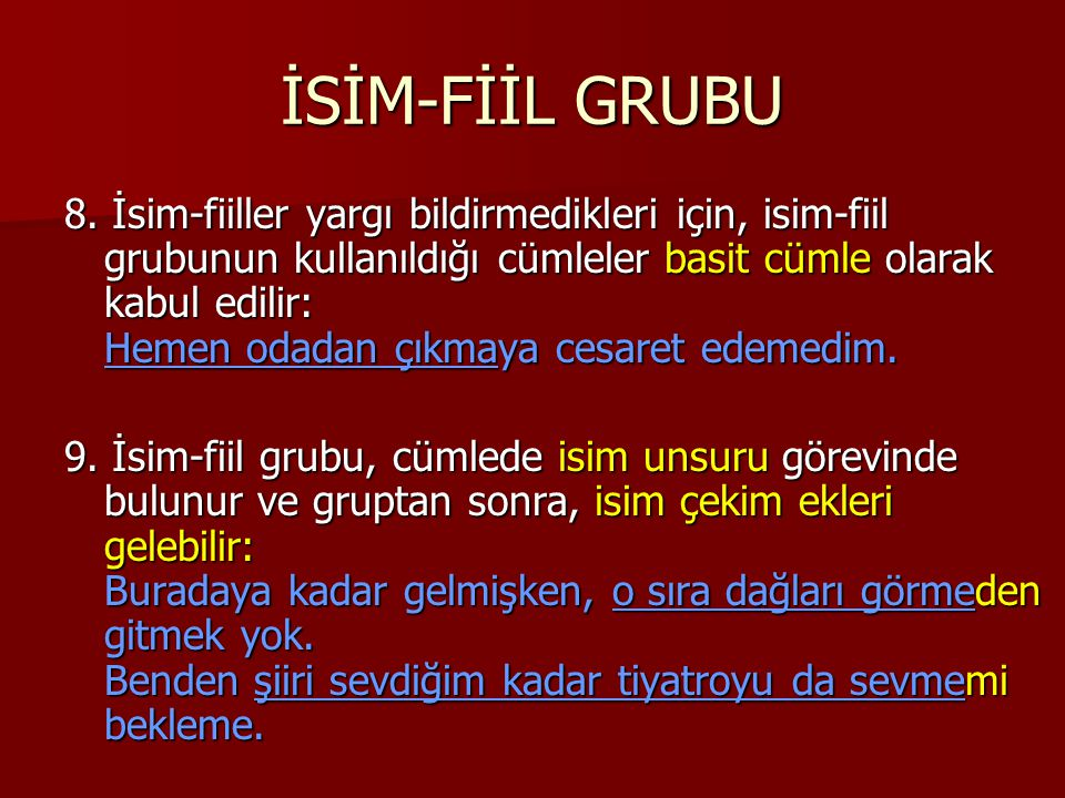 İSİM-FİİL GRUBU