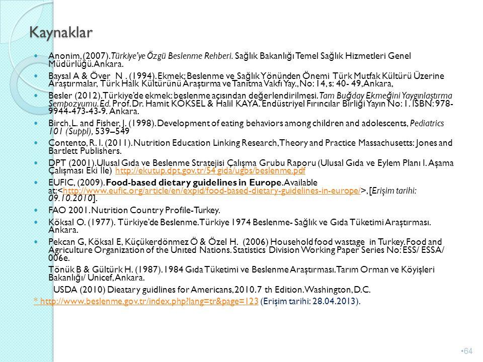Kaynaklar Anonim, (2007).Türkiye'ye Özgü Beslenme Rehberi. Sağlık Bakanlığı Temel Sağlık Hizmetleri Genel Müdürlüğü. Ankara.