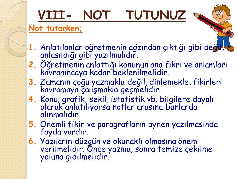 VIII- NOT TUTUNUZ