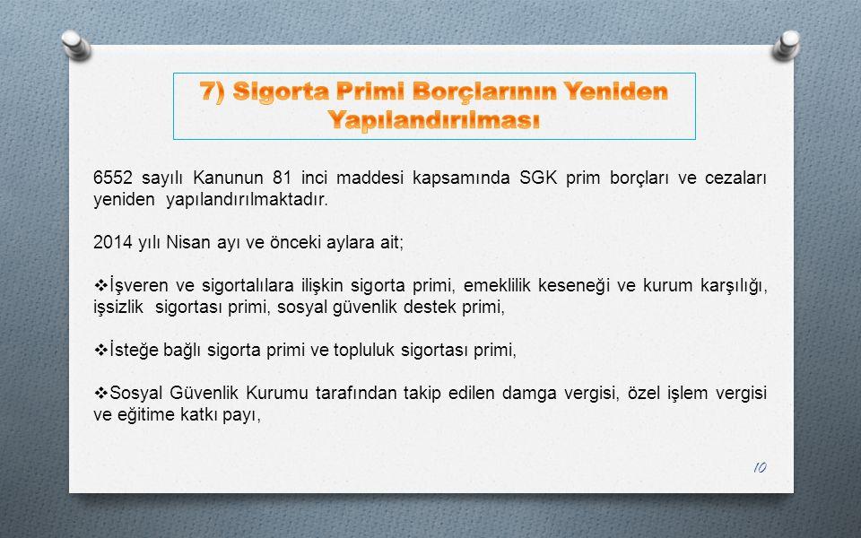 7) Sigorta Primi Borçlarının Yeniden Yapılandırılması
