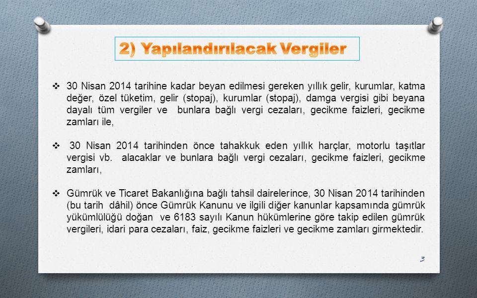 2) Yapılandırılacak Vergiler