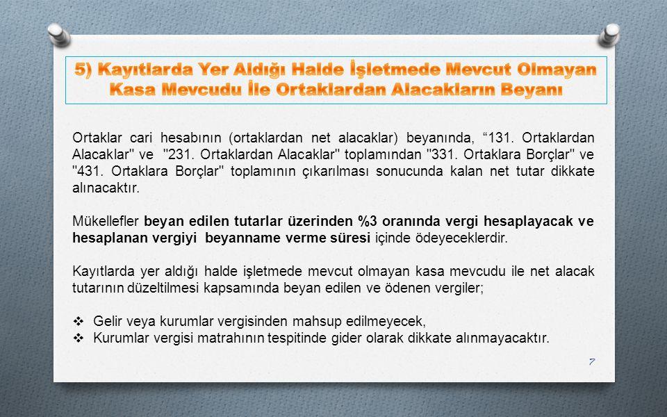 5) Kayıtlarda Yer Aldığı Halde İşletmede Mevcut Olmayan Kasa Mevcudu İle Ortaklardan Alacakların Beyanı