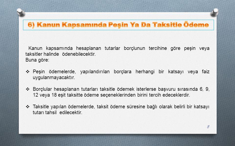 6) Kanun Kapsamında Peşin Ya Da Taksitle Ödeme