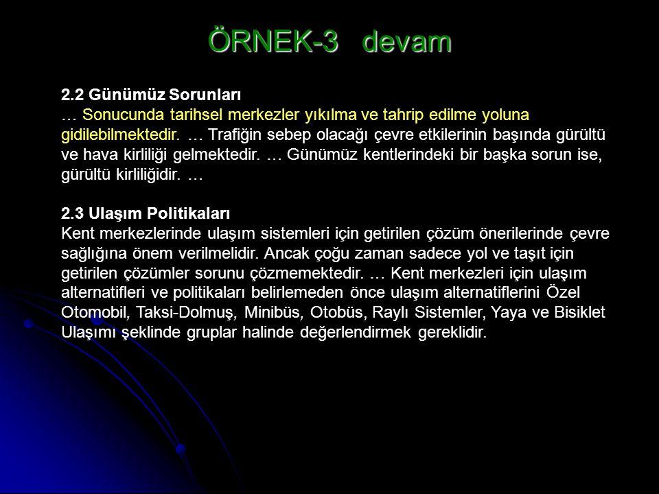 ÖRNEK-3 devam 2.2 Günümüz Sorunları