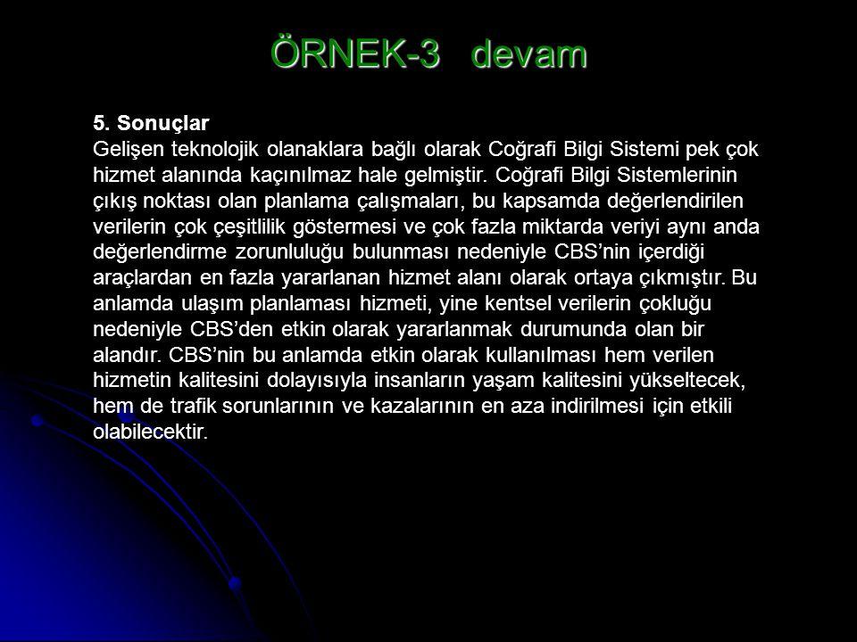 ÖRNEK-3 devam 5. Sonuçlar.