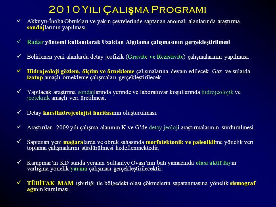 2010 Yılı Çalışma Programı Akkuyu-İnoba Obrukları ve yakın çevrelerinde saptanan anomali alanlarında araştırma sondajlarının yapılması.