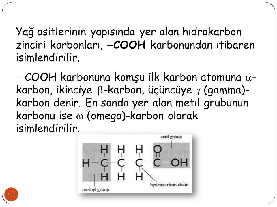 Yağ asitlerinin yapısında yer alan hidrokarbon zinciri karbonları, COOH karbonundan itibaren isimlendirilir.