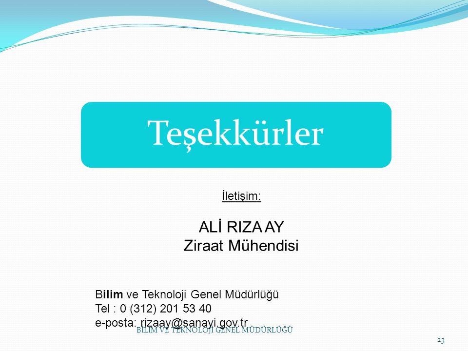 Teşekkürler ALİ RIZA AY Ziraat Mühendisi İletişim: