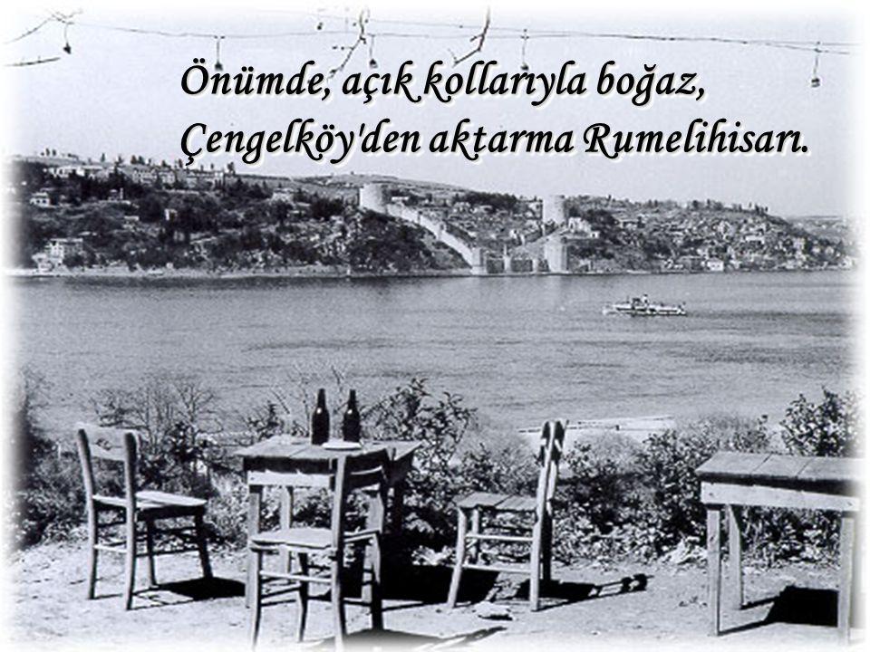 Önümde, açık kollarıyla boğaz, Çengelköy den aktarma Rumelihisarı.