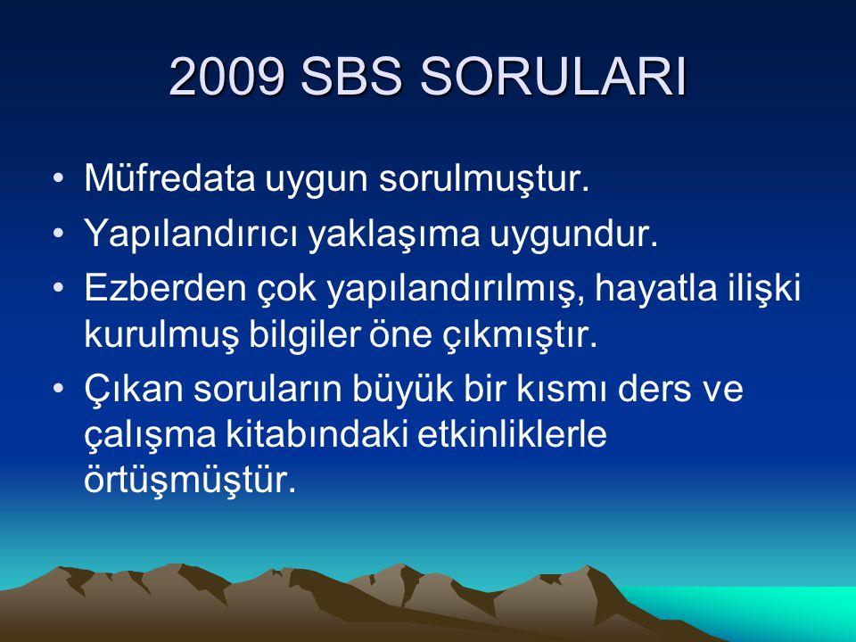 2009 SBS SORULARI Müfredata uygun sorulmuştur.