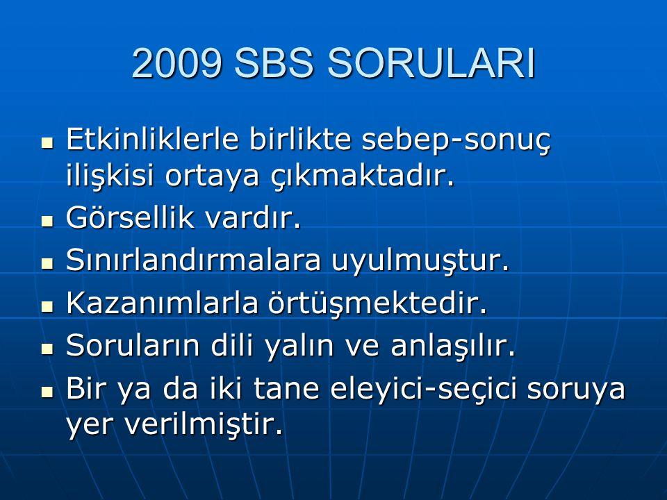 2009 SBS SORULARI Etkinliklerle birlikte sebep-sonuç ilişkisi ortaya çıkmaktadır. Görsellik vardır.