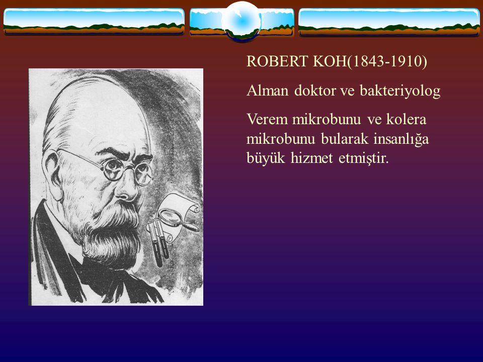 ROBERT KOH(1843-1910) Alman doktor ve bakteriyolog.