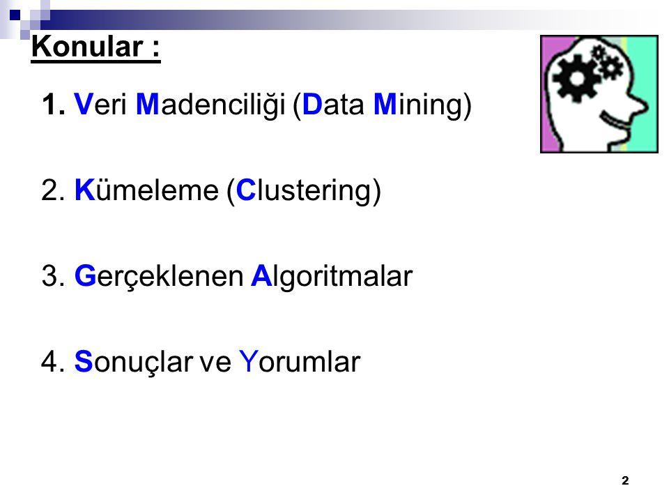 Konular : 1. Veri Madenciliği (Data Mining) 2. Kümeleme (Clustering) 3. Gerçeklenen Algoritmalar.