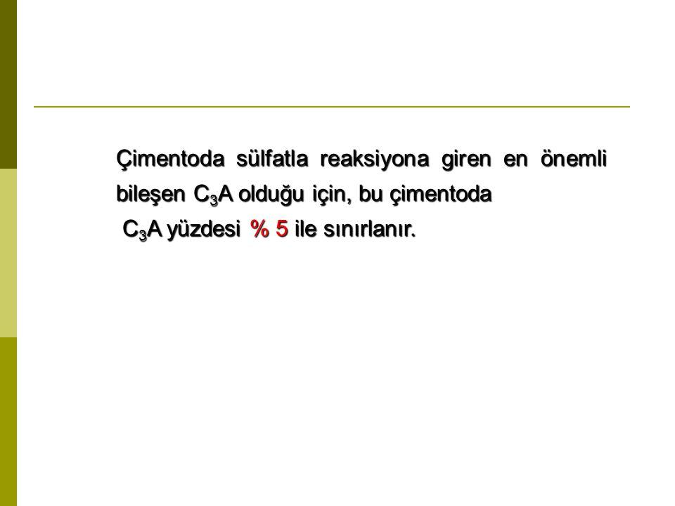 Çimentoda sülfatla reaksiyona giren en önemli bileşen C3A olduğu için, bu çimentoda
