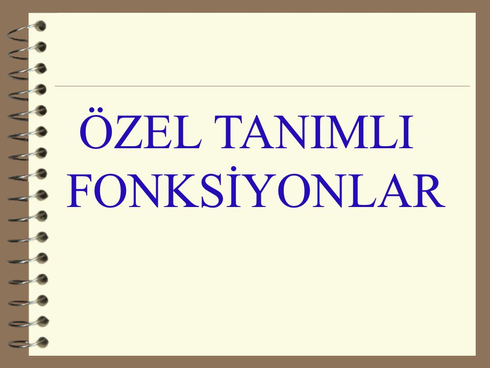 ÖZEL TANIMLI FONKSİYONLAR