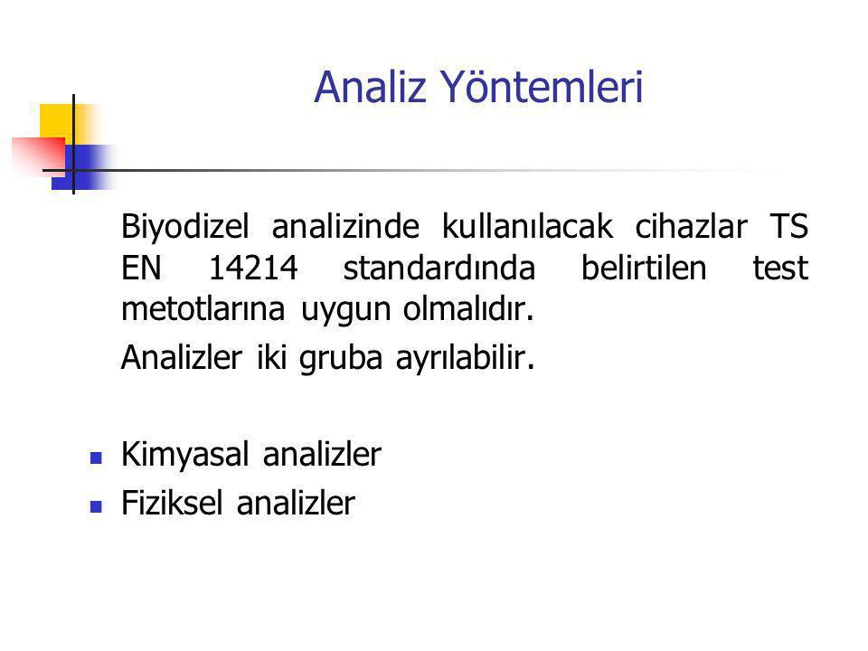 Analiz Yöntemleri Biyodizel analizinde kullanılacak cihazlar TS EN 14214 standardında belirtilen test metotlarına uygun olmalıdır.