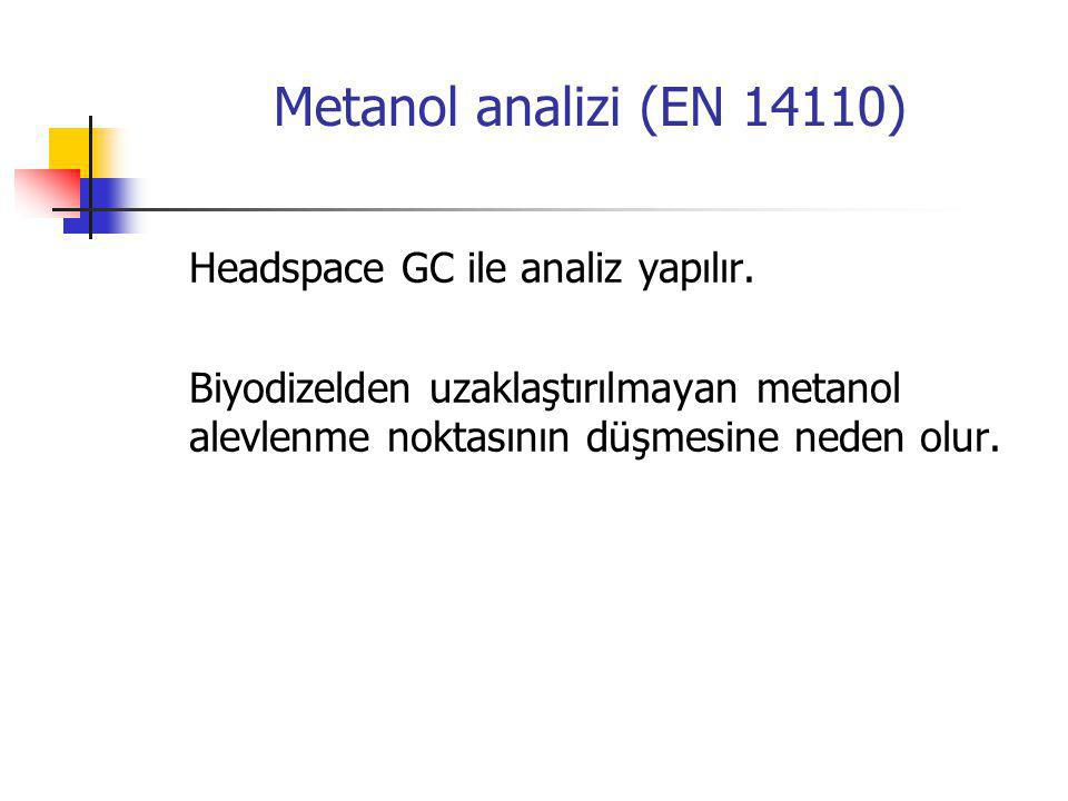 Metanol analizi (EN 14110) Headspace GC ile analiz yapılır.