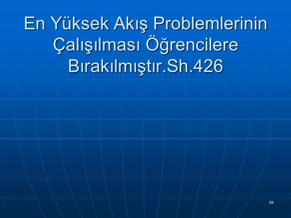 En Yüksek Akış Problemlerinin Çalışılması Öğrencilere Bırakılmıştır.Sh.426