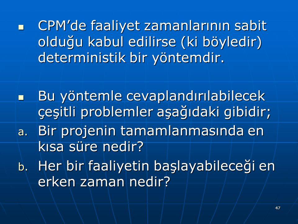 CPM'de faaliyet zamanlarının sabit olduğu kabul edilirse (ki böyledir) deterministik bir yöntemdir.