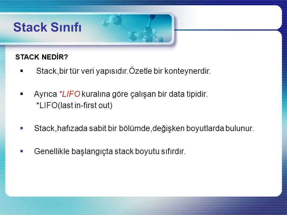 Stack Sınıfı Stack,bir tür veri yapısıdır.Özetle bir konteynerdir.