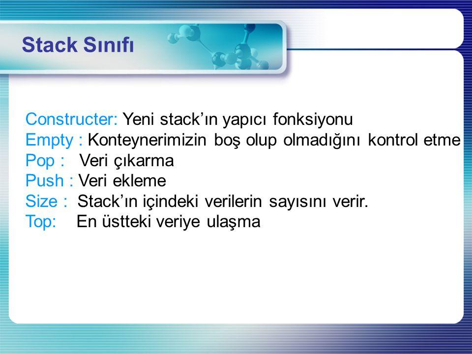 Stack Sınıfı Constructer: Yeni stack'ın yapıcı fonksiyonu