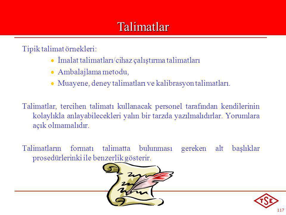 Talimatlar Tipik talimat örnekleri:
