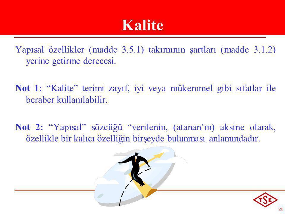 Kalite Yapısal özellikler (madde 3.5.1) takımının şartları (madde 3.1.2) yerine getirme derecesi.