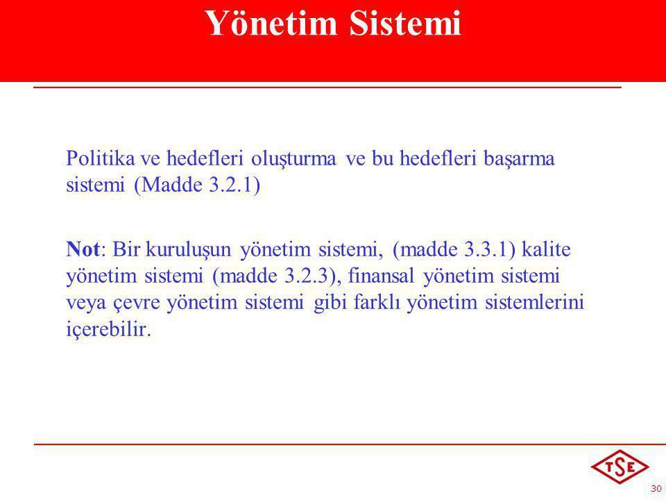 Yönetim Sistemi Politika ve hedefleri oluşturma ve bu hedefleri başarma sistemi (Madde 3.2.1)