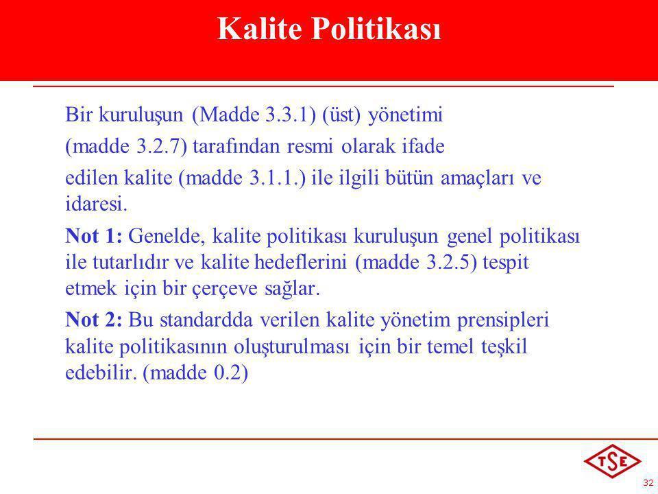 Kalite Politikası Bir kuruluşun (Madde 3.3.1) (üst) yönetimi