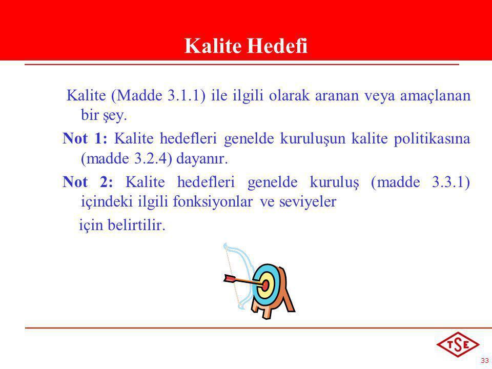 Kalite Hedefi Kalite (Madde 3.1.1) ile ilgili olarak aranan veya amaçlanan bir şey.
