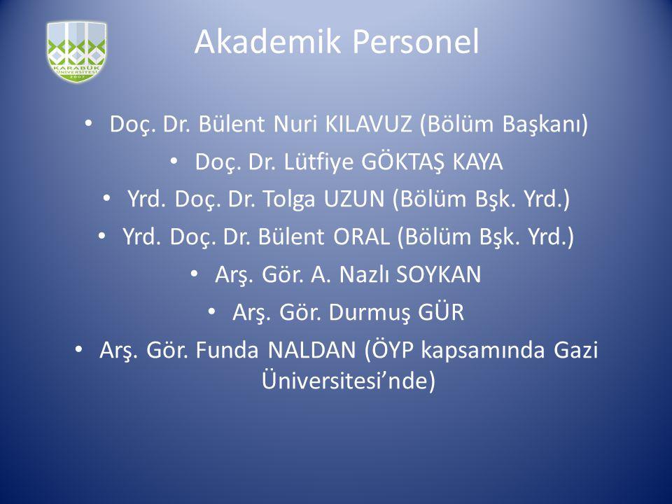 Akademik Personel Doç. Dr. Bülent Nuri KILAVUZ (Bölüm Başkanı)
