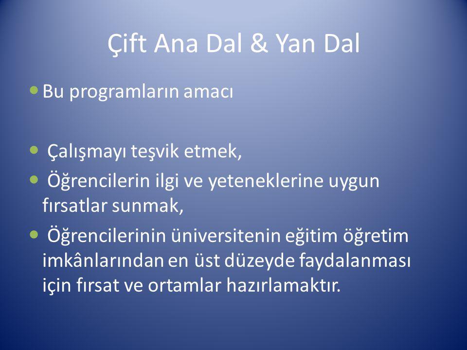 Çift Ana Dal & Yan Dal Bu programların amacı Çalışmayı teşvik etmek,
