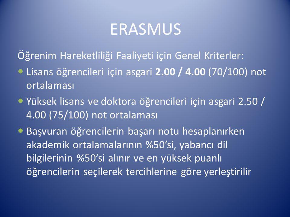 ERASMUS Öğrenim Hareketliliği Faaliyeti için Genel Kriterler: