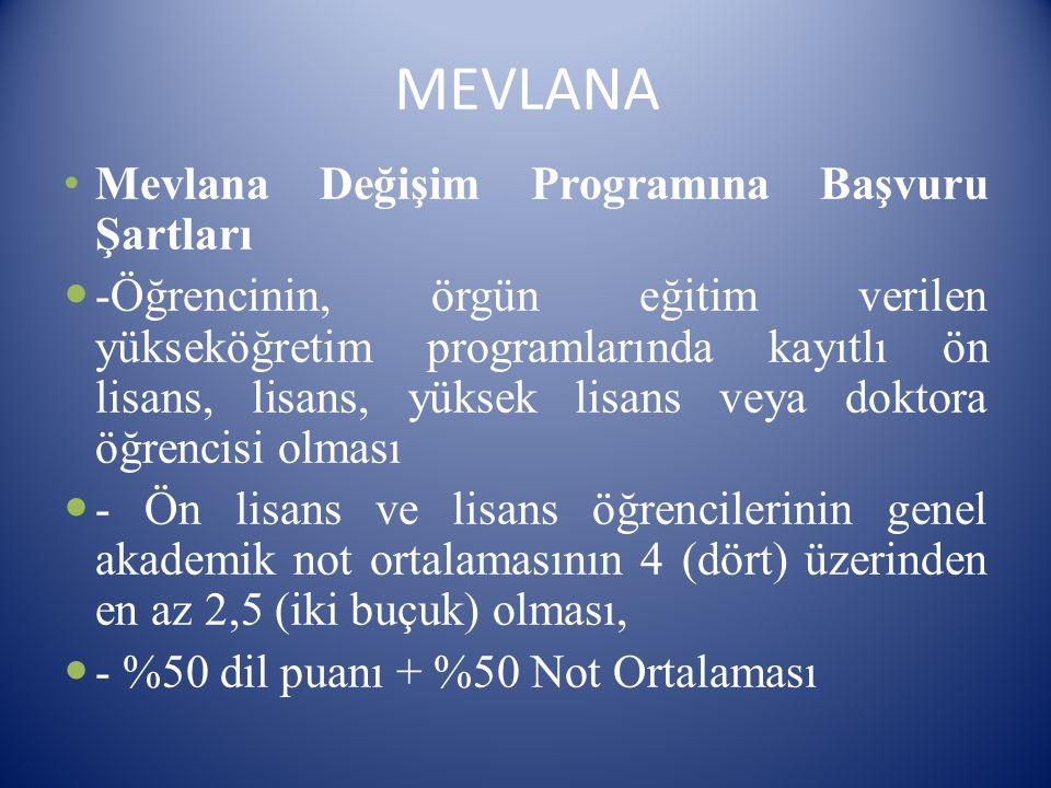 MEVLANA Mevlana Değişim Programına Başvuru Şartları