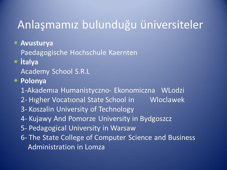Anlaşmamız bulunduğu üniversiteler