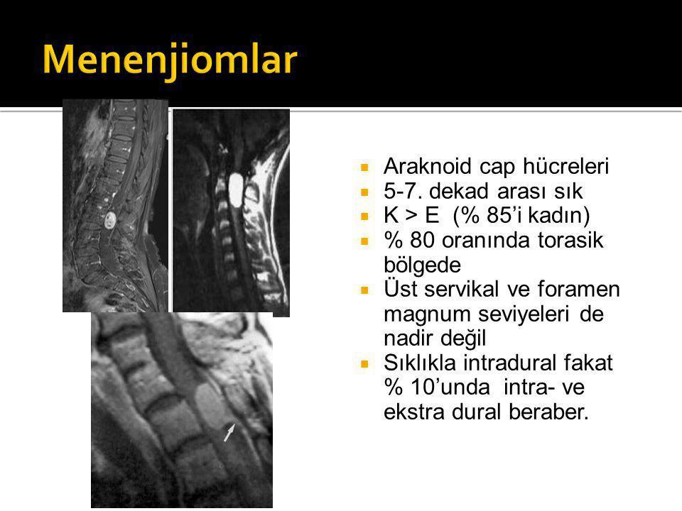Menenjiomlar Araknoid cap hücreleri 5-7. dekad arası sık