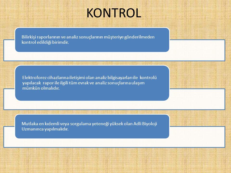 KONTROL Bilirkişi raporlarının ve analiz sonuçlarının müşteriye gönderilmeden kontrol edildiği birimdir.