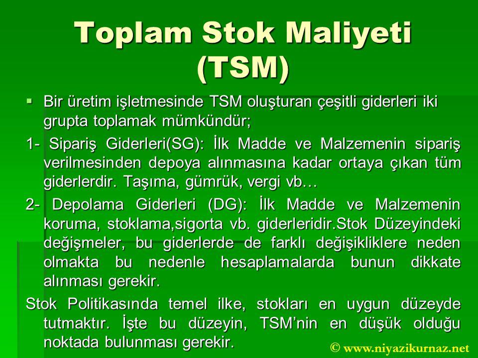 Toplam Stok Maliyeti (TSM)