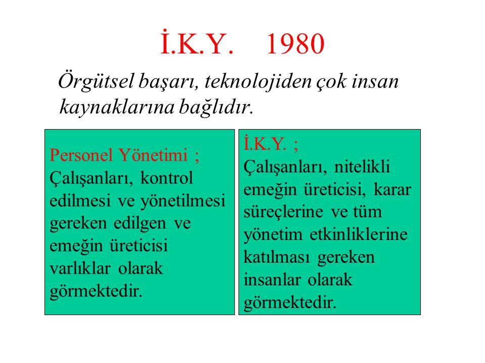İ.K.Y. 1980 Örgütsel başarı, teknolojiden çok insan kaynaklarına bağlıdır. Personel Yönetimi ; Çalışanları, kontrol.