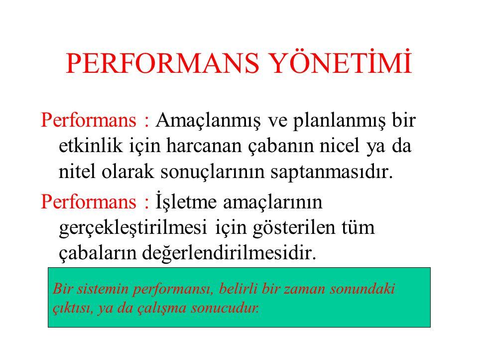PERFORMANS YÖNETİMİ Performans : Amaçlanmış ve planlanmış bir etkinlik için harcanan çabanın nicel ya da nitel olarak sonuçlarının saptanmasıdır.