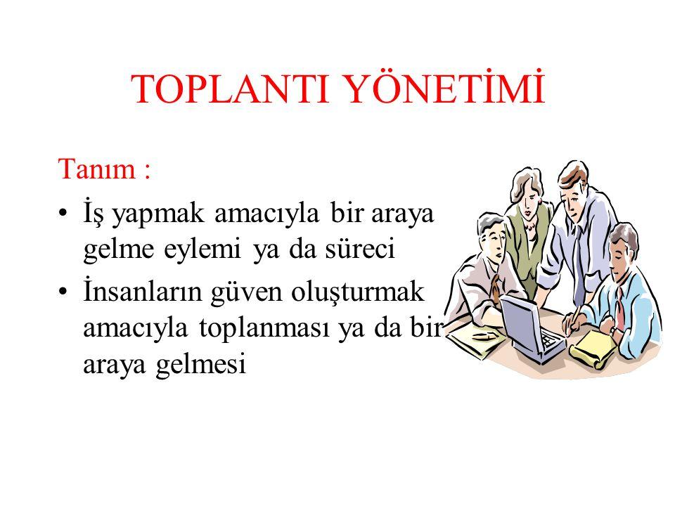 TOPLANTI YÖNETİMİ Tanım :