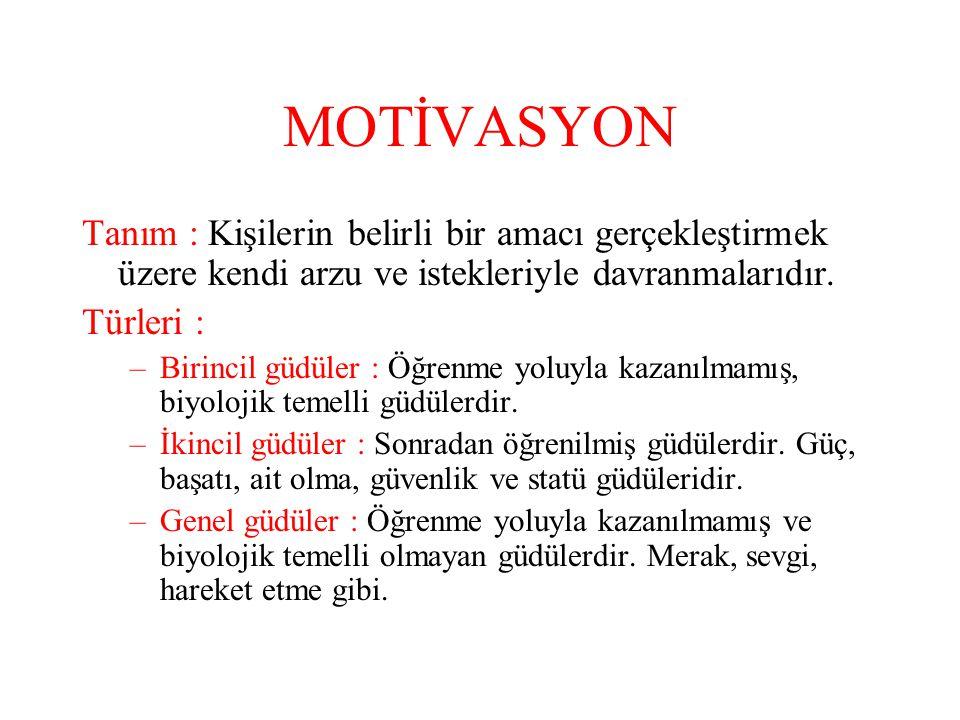 MOTİVASYON Tanım : Kişilerin belirli bir amacı gerçekleştirmek üzere kendi arzu ve istekleriyle davranmalarıdır.