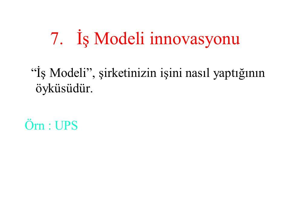 İş Modeli innovasyonu İş Modeli , şirketinizin işini nasıl yaptığının öyküsüdür. Örn : UPS