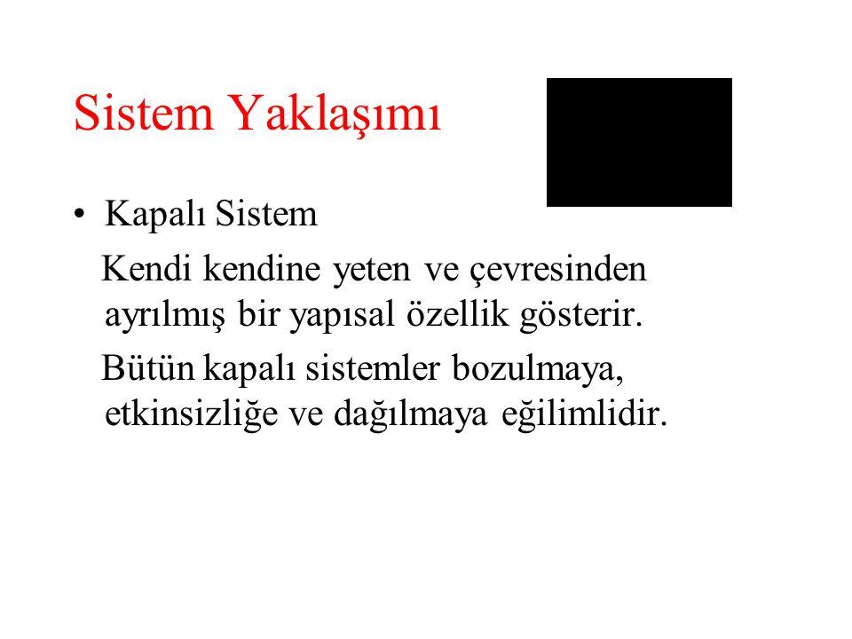 Sistem Yaklaşımı Kapalı Sistem