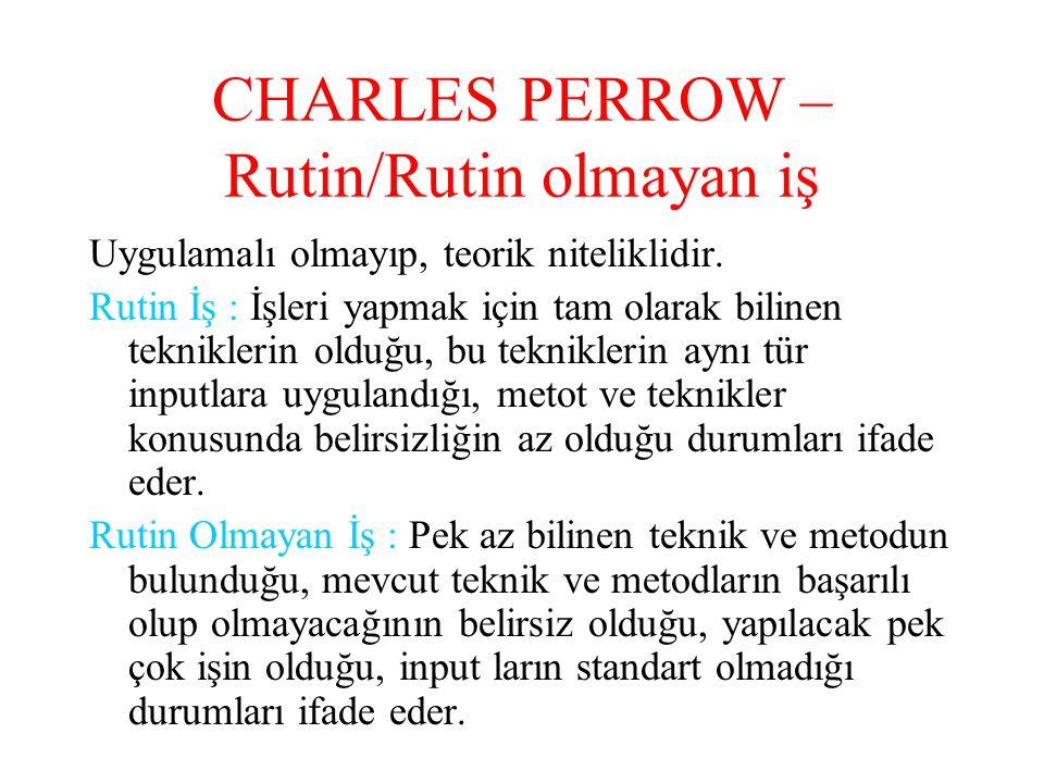 CHARLES PERROW – Rutin/Rutin olmayan iş
