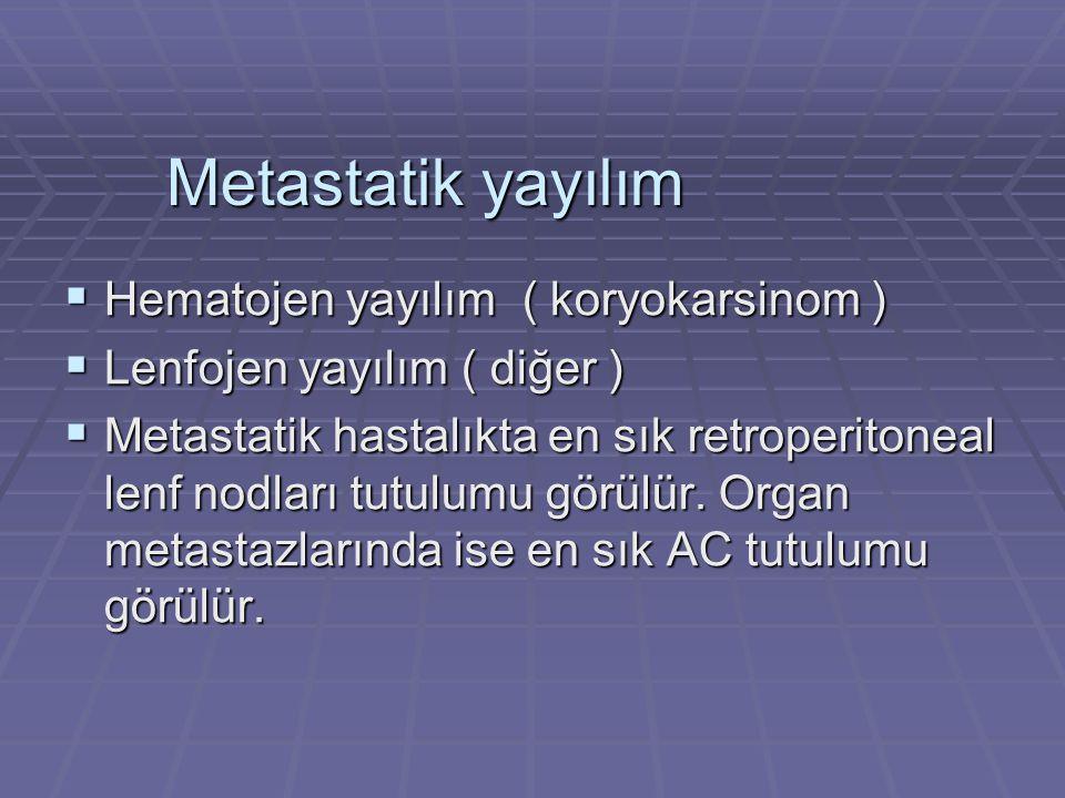 Metastatik yayılım Hematojen yayılım ( koryokarsinom )